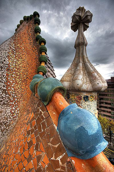art nouveau architecture. Roof of Casa Battló by Antoni Gaudí