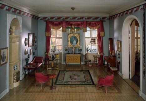 german sitting room of the biedermeier period 1937