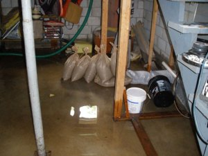 You can see the water that pressure forced into the basement.