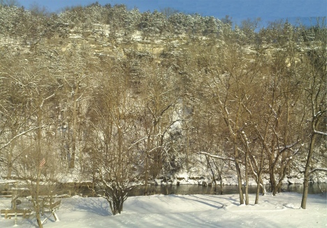 A View of the Root River and Bluffs in Lanesboro, Minnsota