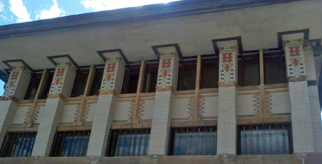 Frank Lloyd Wright overhang above many windows.
